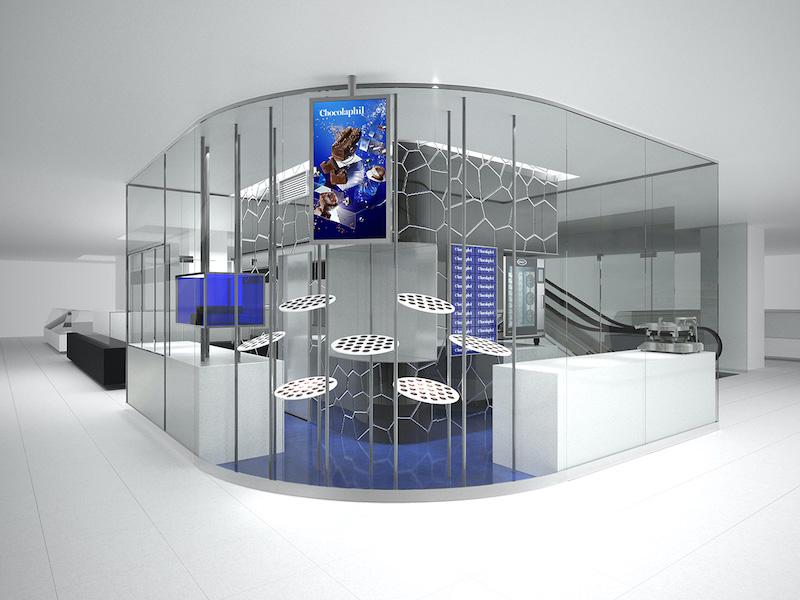 ブランドカラーのウルトラマリンが映えるChocolaphil™(ショコラフィル)大丸心斎橋店の店舗外観